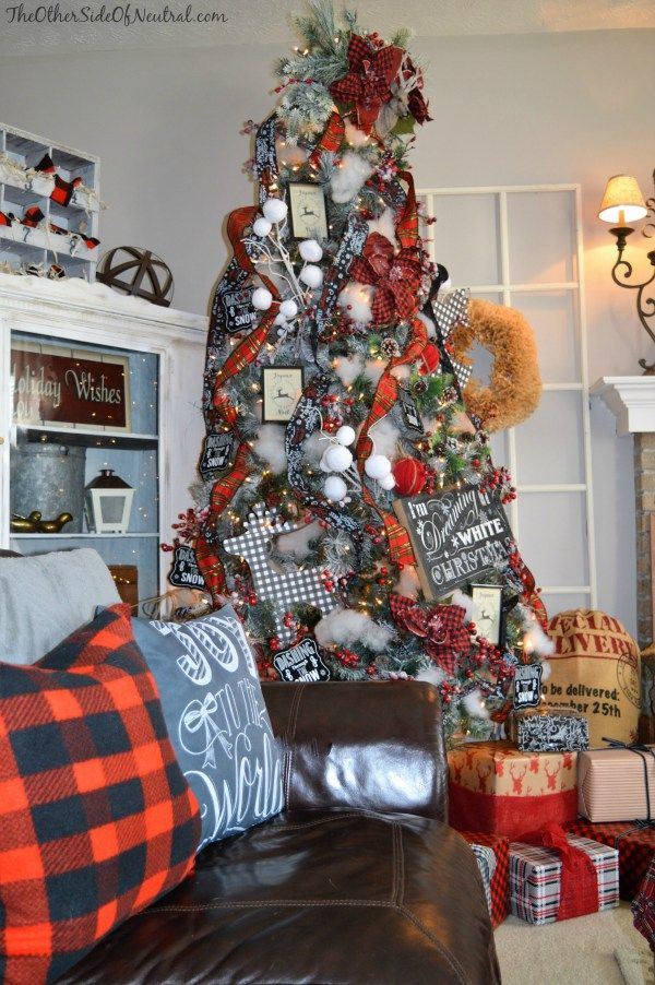 holiday home tour 2015 the other side of neutral diy christmas tree ornaments red black white buffalo check deer woodland christmas lumberjack