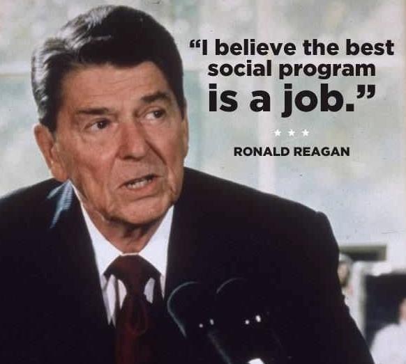 """Empleo, la mejor política social. Simple.   Pon """"Me Gusta"""" si estás de acuerdo con Reagan. ¡Y comparte! http://www.fppchile.cl/"""