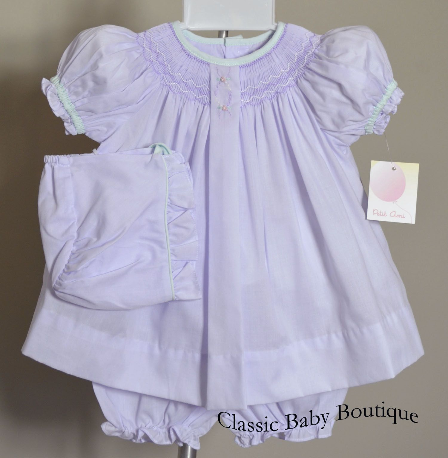 Petit Ami Lavender Smocked Bishop 3pc Dress Newborn Baby Girls