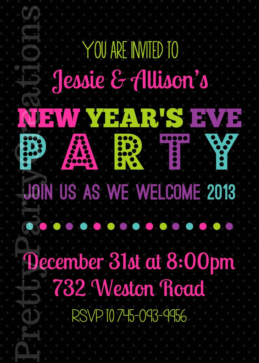New Years Eve Party Invitation You Print By Prettypartycreations New Years Eve Party Party Invitations Invitations Party