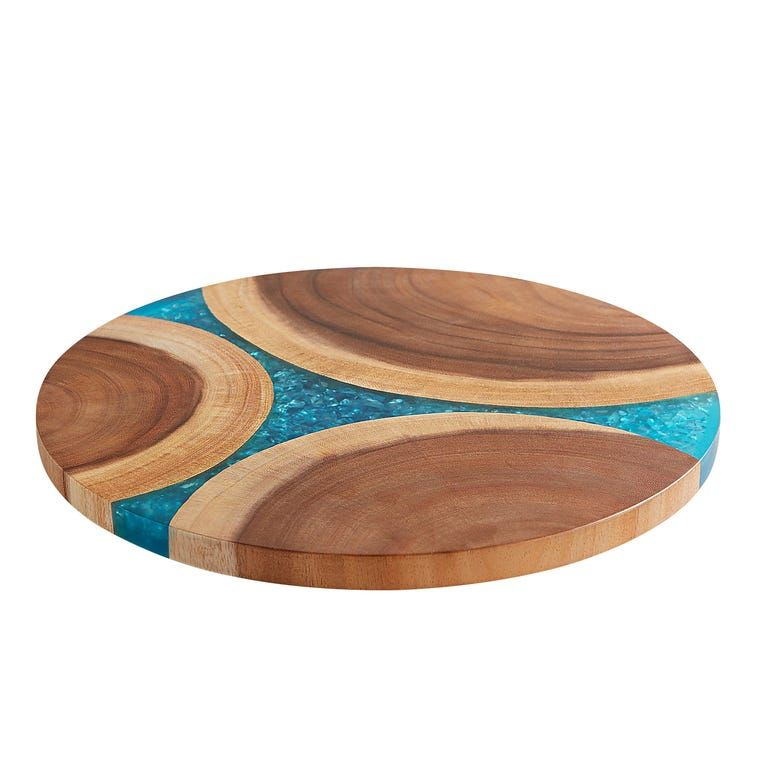 Wooden Turquoise Resin Lazy Susan In 2020 Lazy Susan Awesome