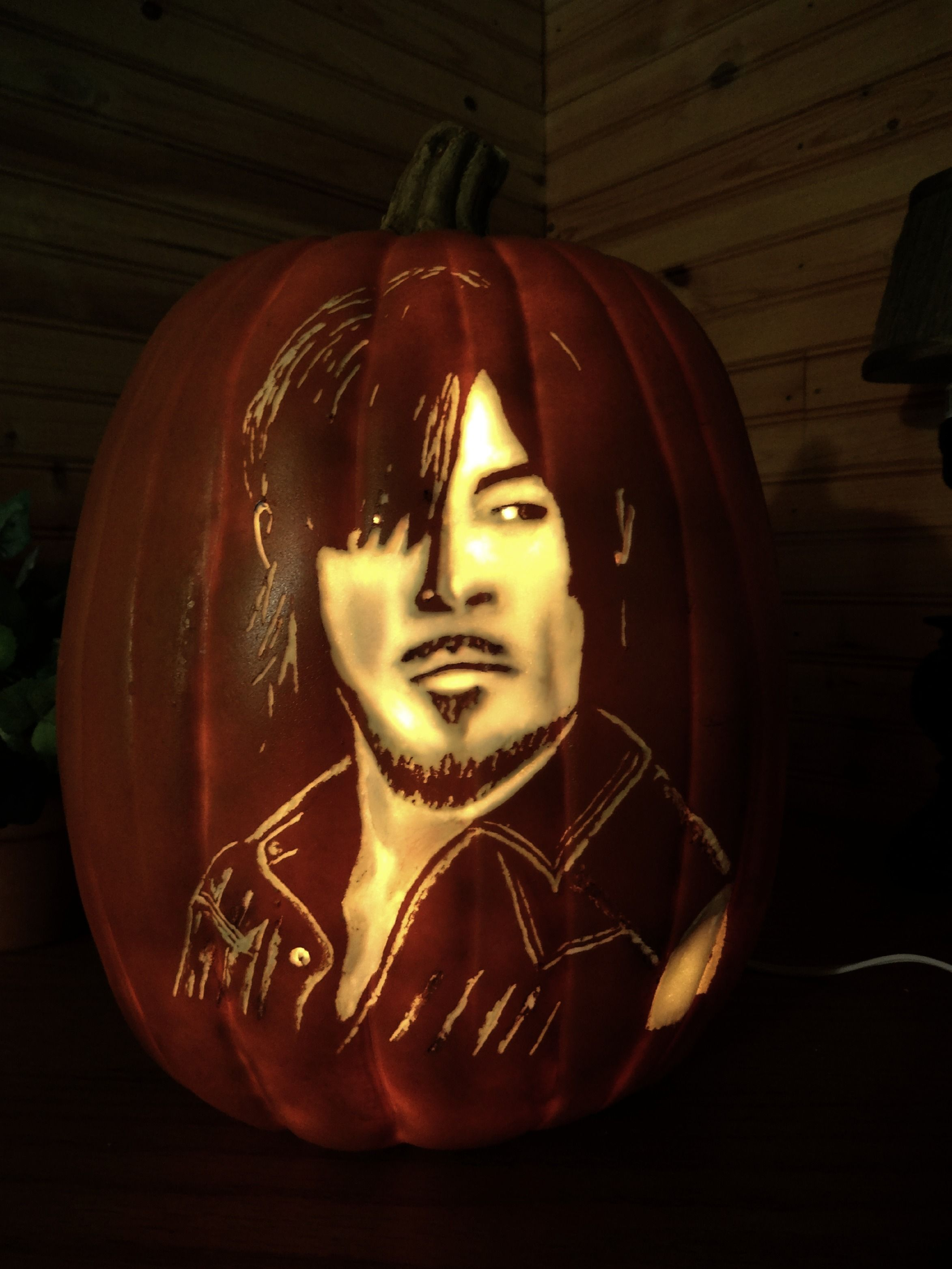 The walking dead daryl hand carved foam pumpkin on etsy.com