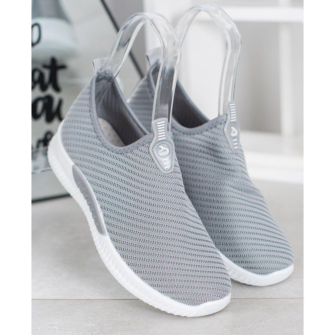 Shelovet Wsuwane Buty Sportowe Szare Slip On Sneaker Adidas Tubular Sneakers