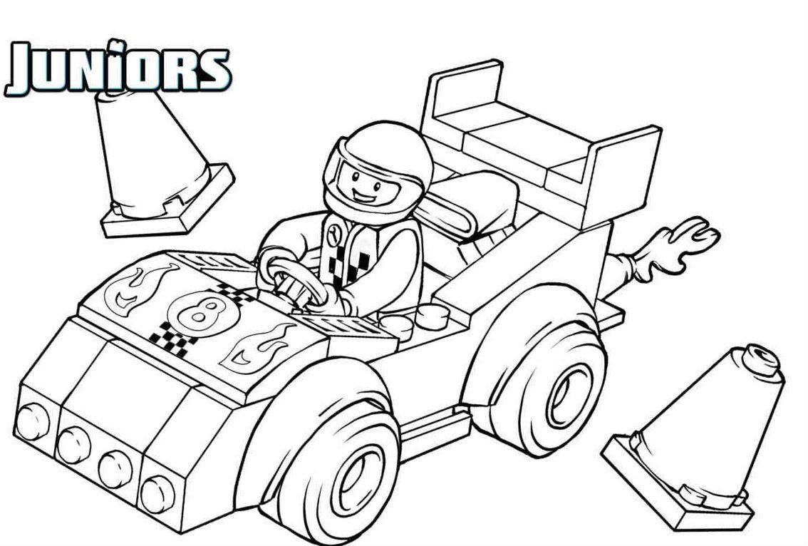 Lego Driving A Race Car Colorir Auto