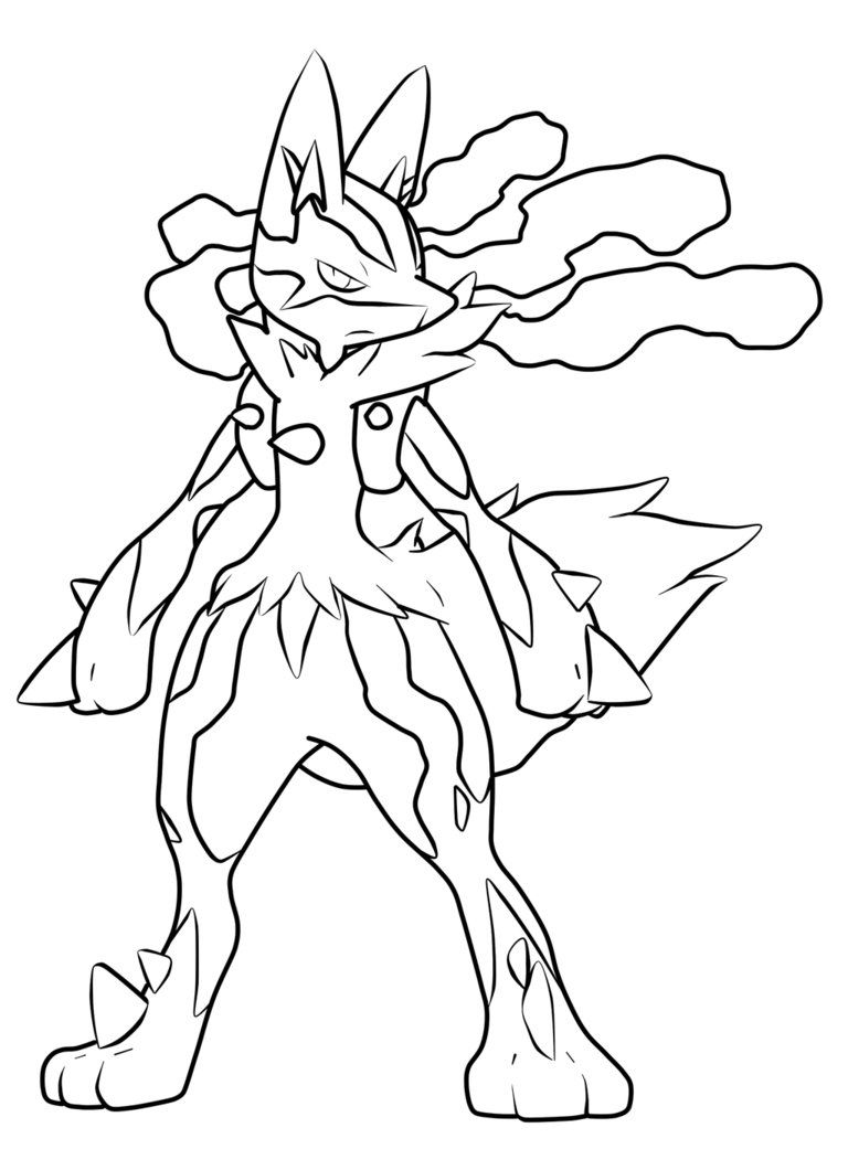 Pokemon Mega Lucario Coloring Pages To Print Pokemon Para