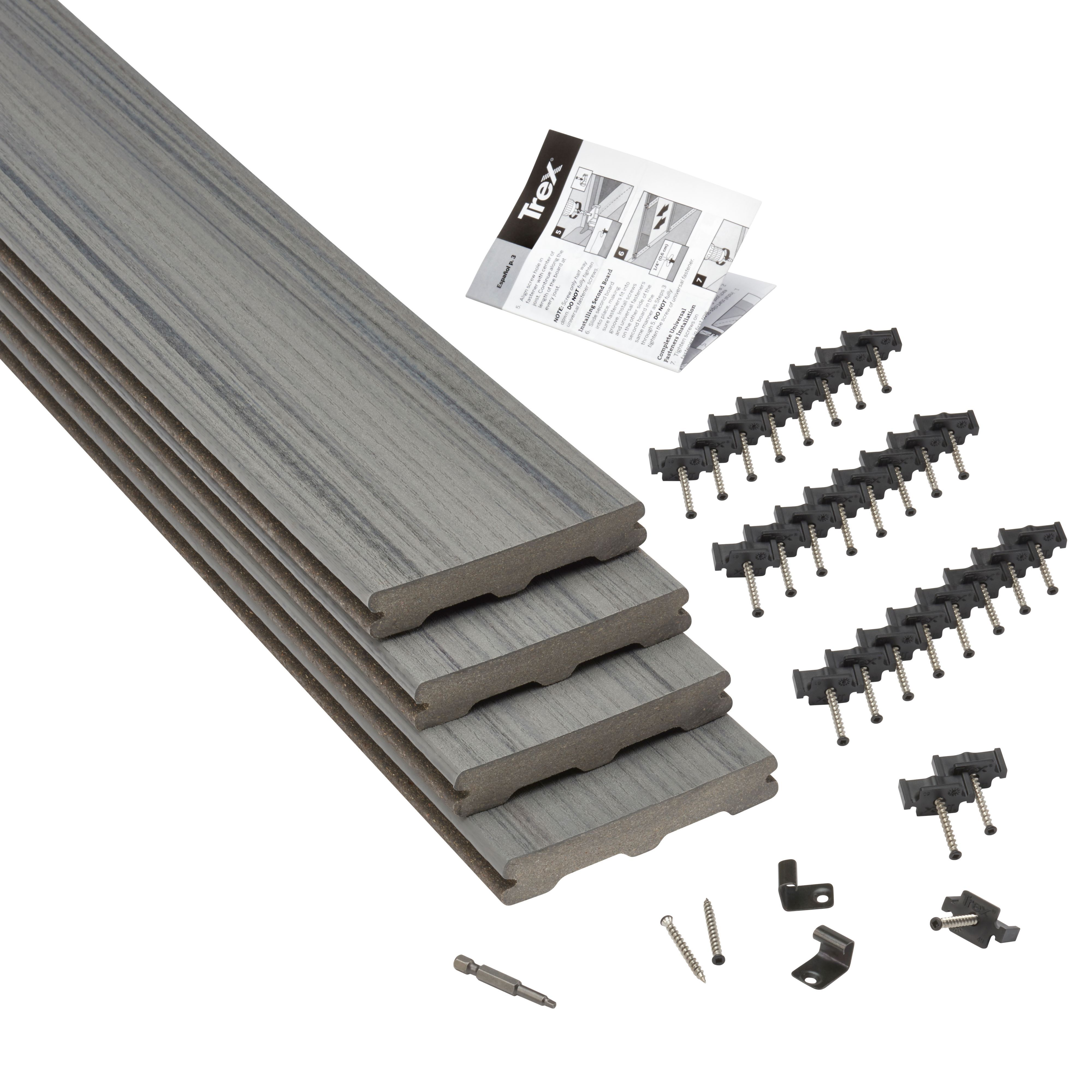 Trex Chateau Grey Composite Deck Board W 140mm L 2400mm T 24mm Pack Of 4 Departments Diy At B Q Composite Decking Composite Decking Boards Deck Boards