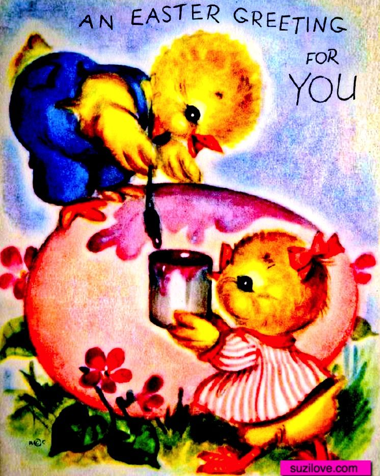 Chickens Painting An Egg Vintage Easter Card Suzilove