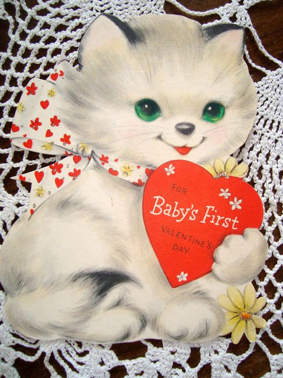 V72 Vintage used Baby's 1st Valentine Greeting Card by jarysstuff, $4.00