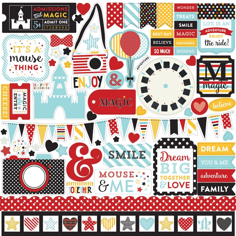 Scrapbook paper dollar general - Echo Park Disney Magical Adventure Collection 12 X 12 Element Stickers