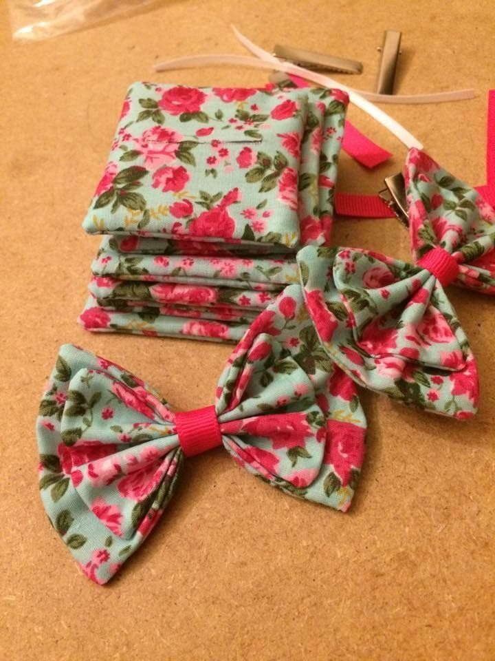 Pretty floral fabric hair bows for girls <3