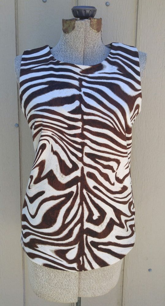 deb167928f49 Women s Michael Kors Brown Zebra Print Gold Zip Detail Size L Dress Shirt  Top