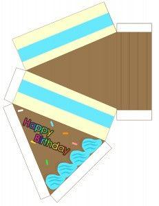 Free Paper Birthday Cake Box Printable Template