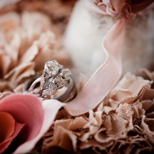 Cristins brilliantcut engagement ring sits atop her and her