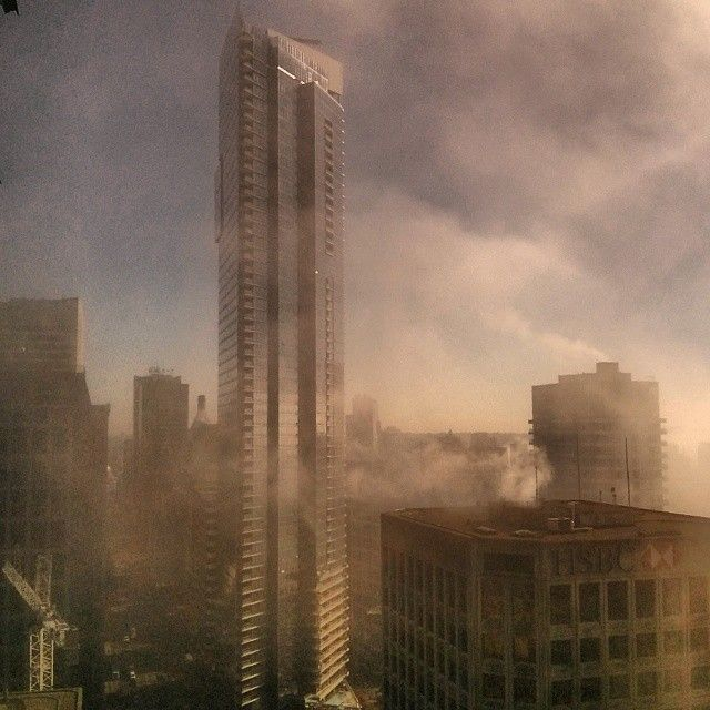 the shangri la in the fog yesterday vancouver vanarch vancity vancouverisawesome fogcouver