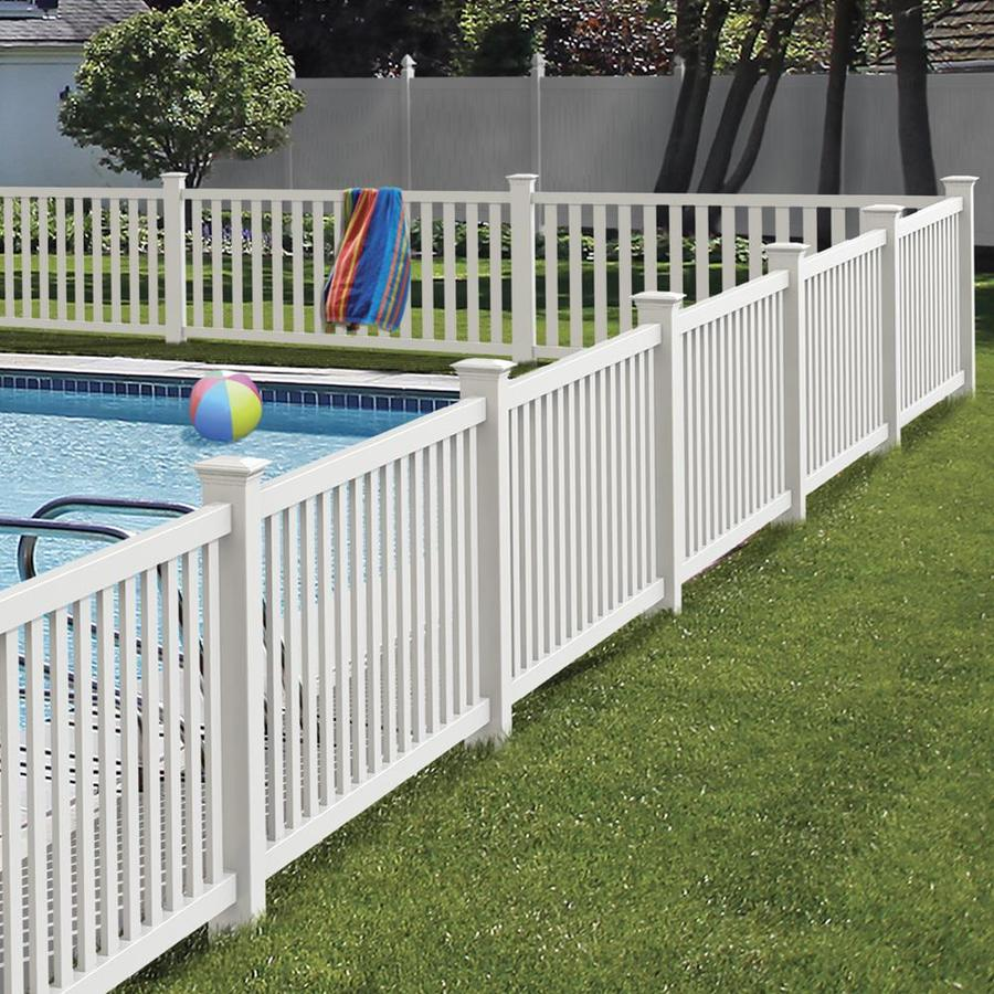 Freedom Ready To Assemble Terex 4 Ft H X 8 Ft W White Vinyl Fence Panel Lowes Com Vinyl Fence White Vinyl Fence Fence Panels