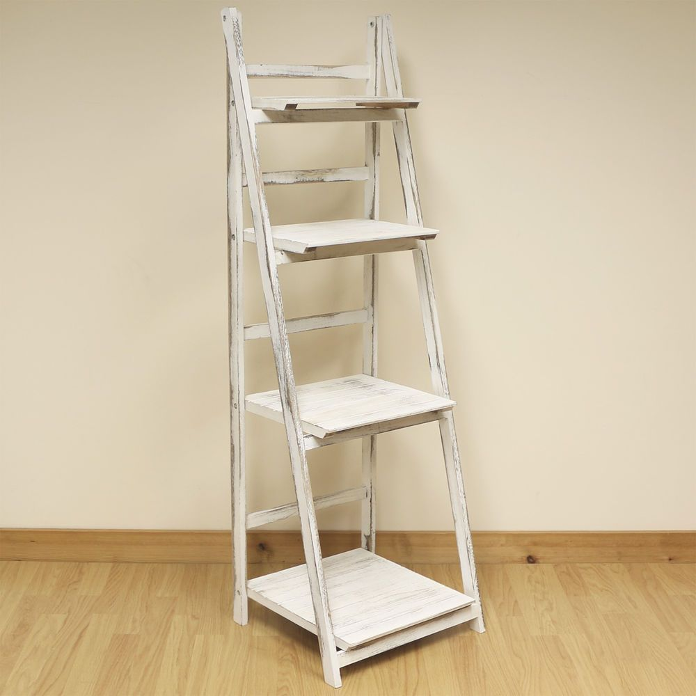 4 Tier White Wash Ladder Shelf Display Unit Free Standing