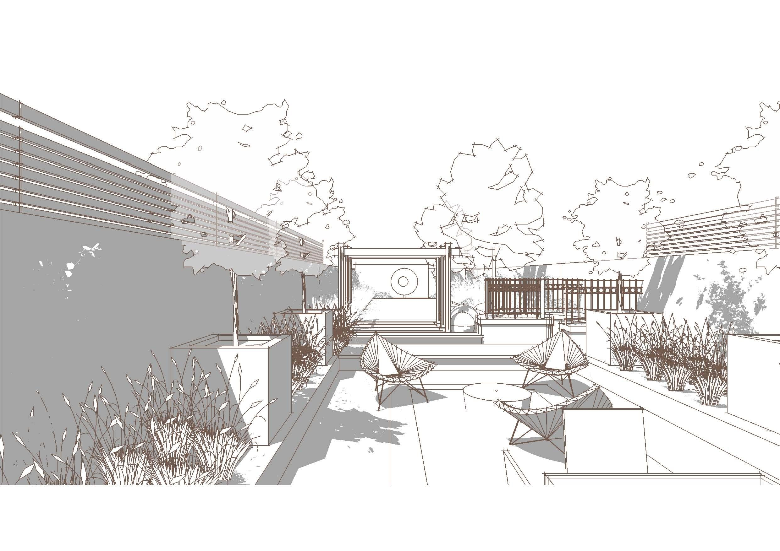 Architecture Drawing Illustrator bowles and wyer, garden perspective, sketchup, line render