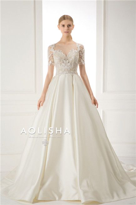 Short Sleeves Lace Beaded Bodice Mikado Ball Gown Wedding Gown