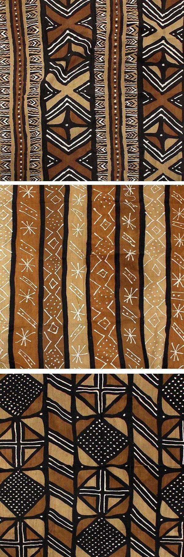 Handmade African Mudcloth Fabric - Beautiful black, brown, and tan African mudcloth fabric that is