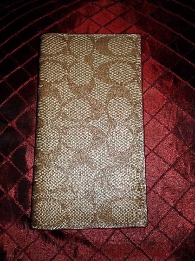 8f1a06c6095b Coach Checkbook Cover Chocolate Brown Canvas Fuschia Pink Leather ...
