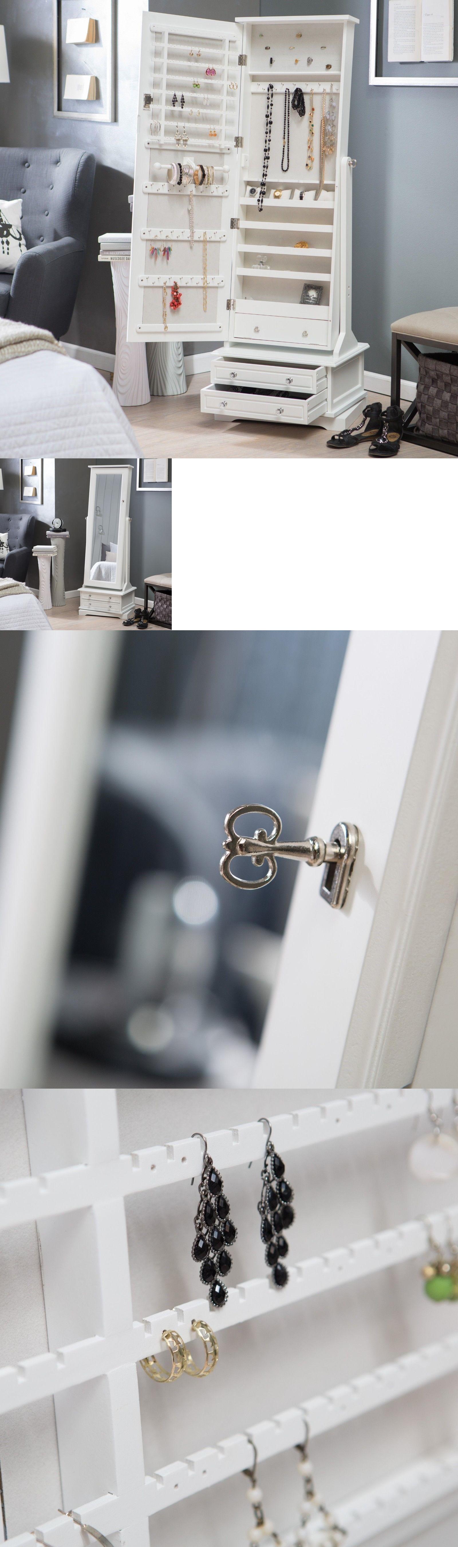 MultiPurpose 168165 Mirrored Jewelry Armoire With Mirror Lock Key
