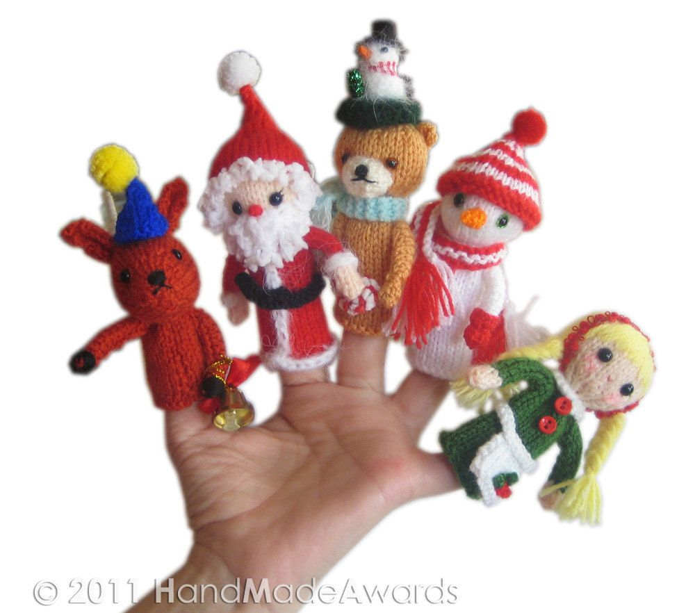 Christmas Finger PUPPETS Pdf Email Knit PATTERN | Finger puppets ...