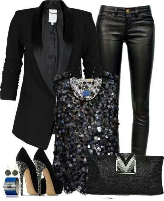 Company Christmas Party Dress Ideas Part - 44: Love Everything About This Especially The Leather Pants And Blazer