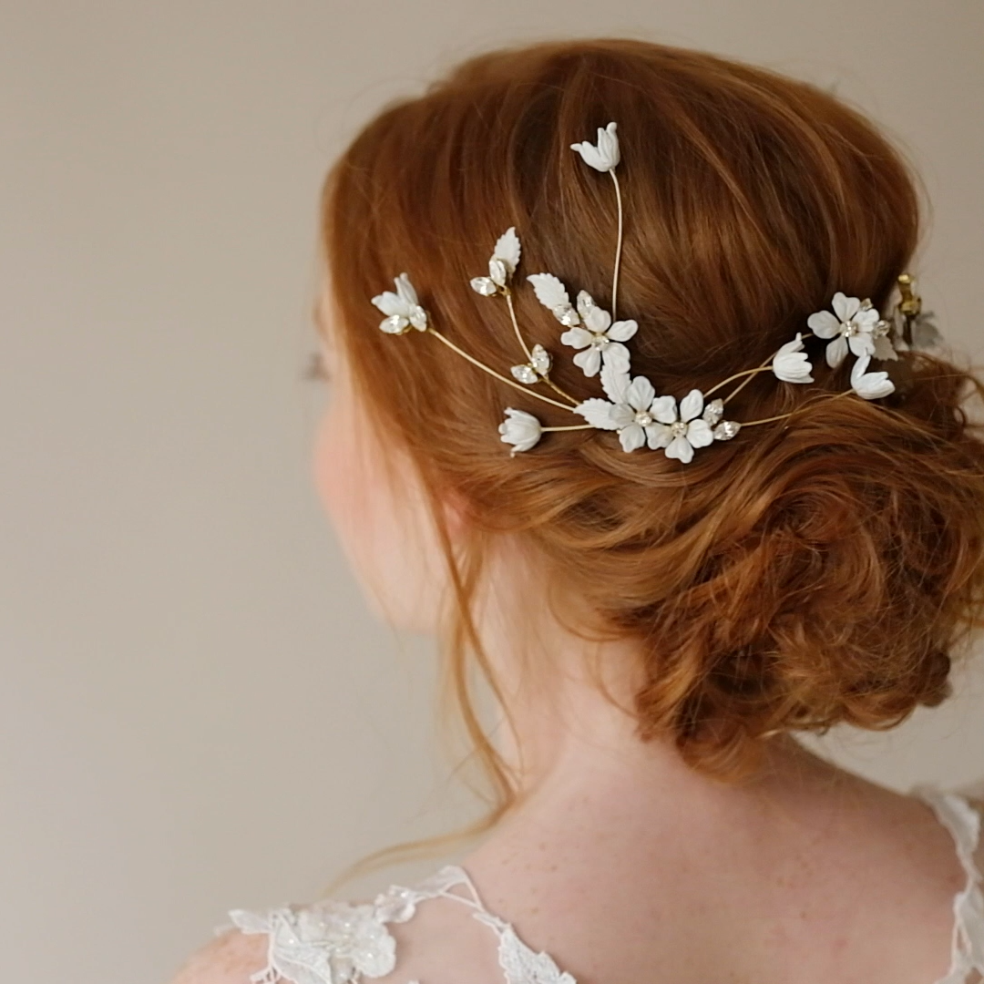 Photo of Modern Crystal Floral Bridal Hair pins, Couture Bridal Headp…