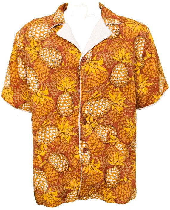 1950s Xl Shirt Mens Terrycloth Hawaiian Polynesian Tropical Tiki Rockabilly Beach Retro