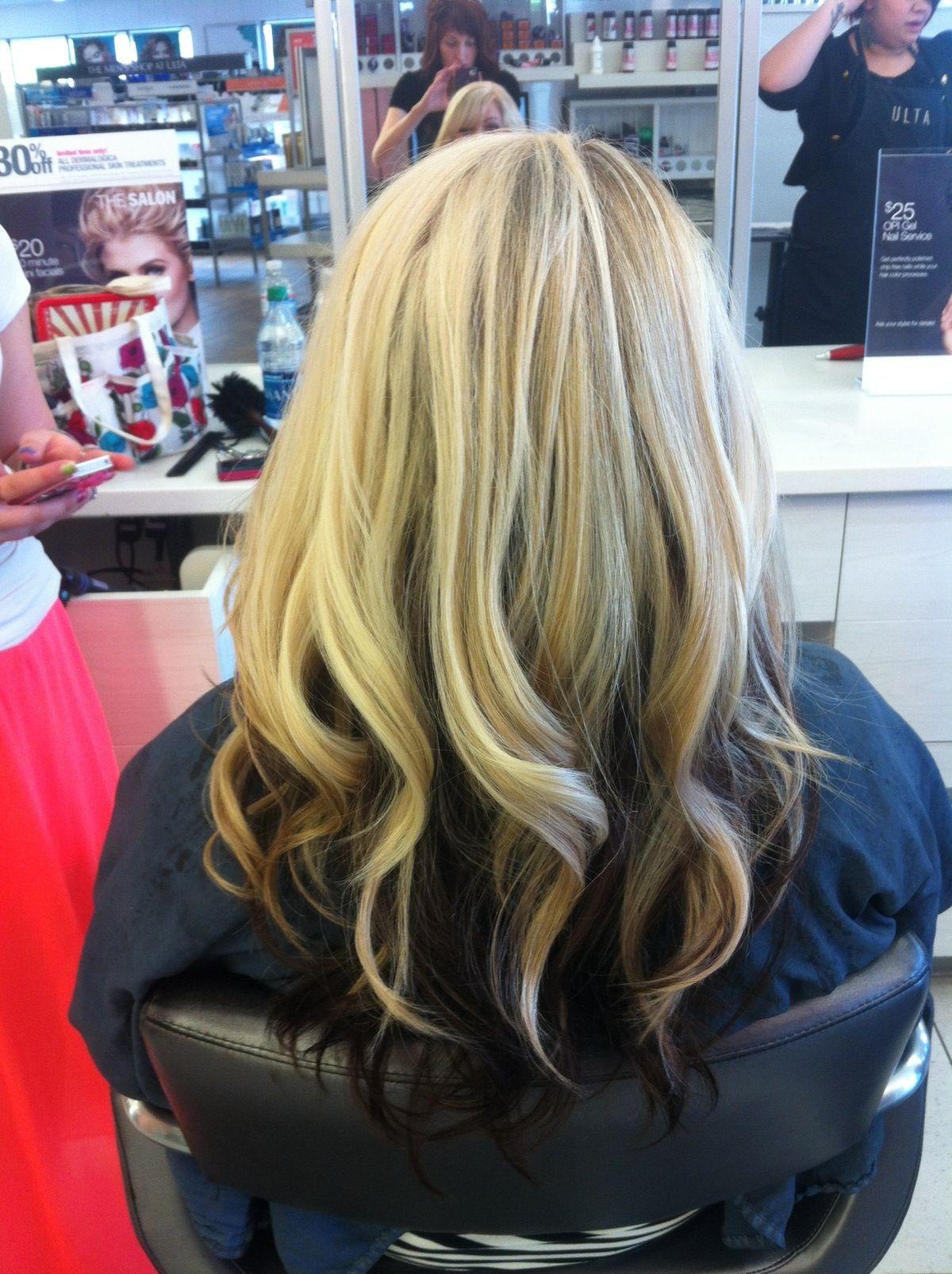 Blonde hair with dark brown underneath   hair & nails ...