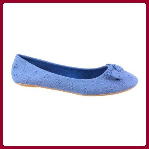 SPOT ON Ballerina EYELET CANVAS F8669 blue 39 - Ballerinas für frauen (*Partner-Link)