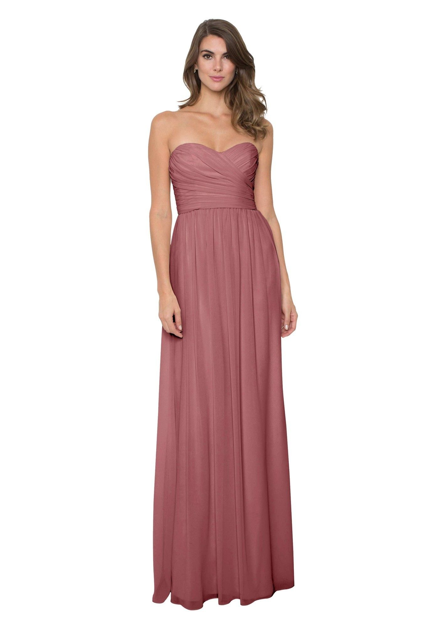 af58b16ac17 Monique Lhuillier  Madeline Dress  in Cerise. The floating chiffon skirt  enhances the elongated silhouette of this floor-sweeping bridesmaid gown.