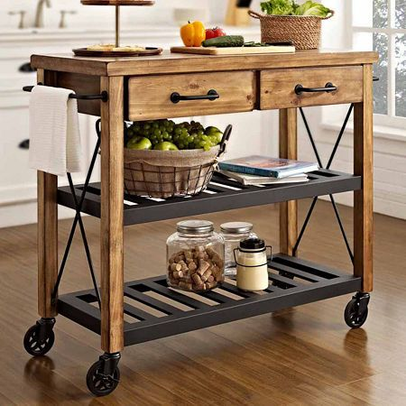 Kettering Industrial Kitchen Cart Island Portable Decor