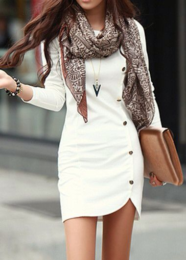 Long Sleeve White Button Decorated Sheath Dress rosewe.com