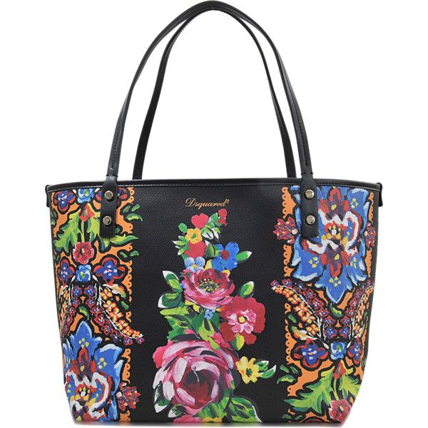 Dsquared2 Medium Alberta Flowers Tote (€265) ❤ liked on Polyvore featuring bags, handbags, tote bags, printed, multicolor handbags, colorful tote bags, dsquared2, flower tote and multi color handbag