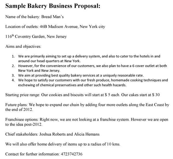 sample business plan bakery