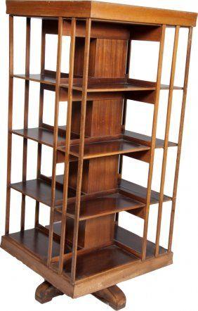 423 Large Wooden 4 Sided Bookshelf On Swivel Base Lot