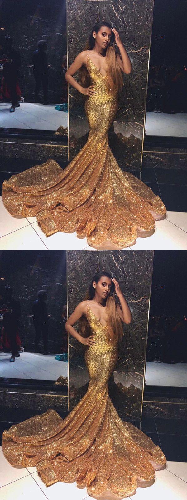 Mermaid gold prom dress sexy v neck prom dress vb prom tings
