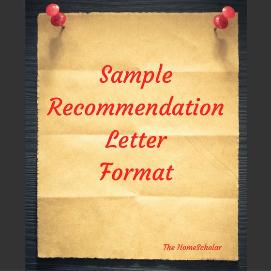 Sample Letter Of Recommendation Format Homeschool Guidance