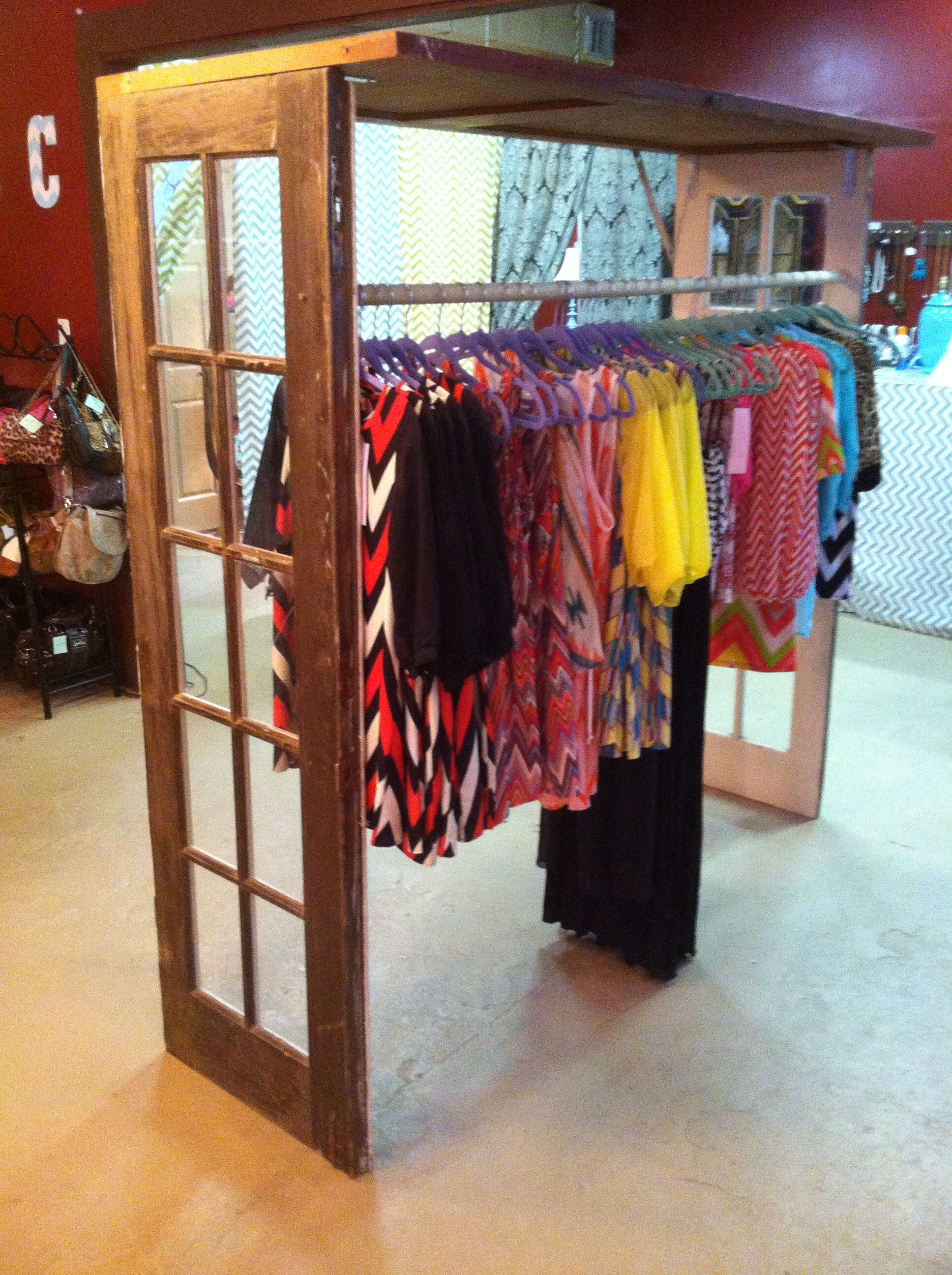 Boutique Clothing Rack Made Of 3 Vintage Doors And A Pole From