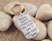 Father of the Bride Dog Tag Keychain - Personalized and Hand Stamped - Aluminum - Daddy You'll Always Be the First Man I Ever Loved