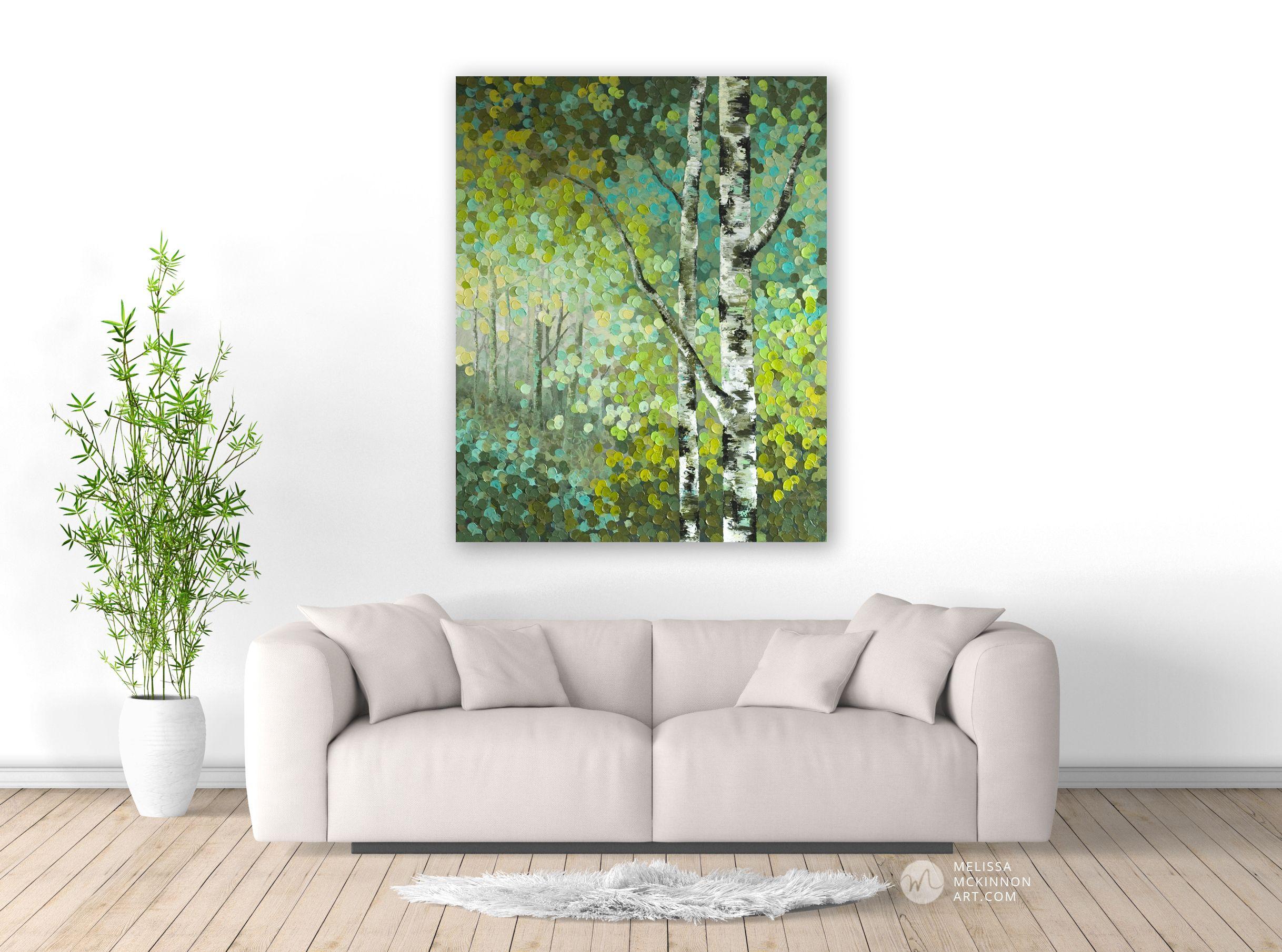 Melissa Mckinnon Art Colourful Lush Green, Aqua, Yellow And Turquoise