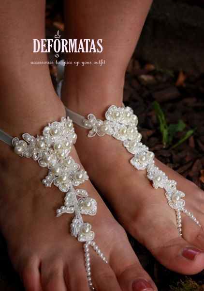 Beach Wedding Foot Jewelry Bridal Lace And Pearl By Deformatas 4000