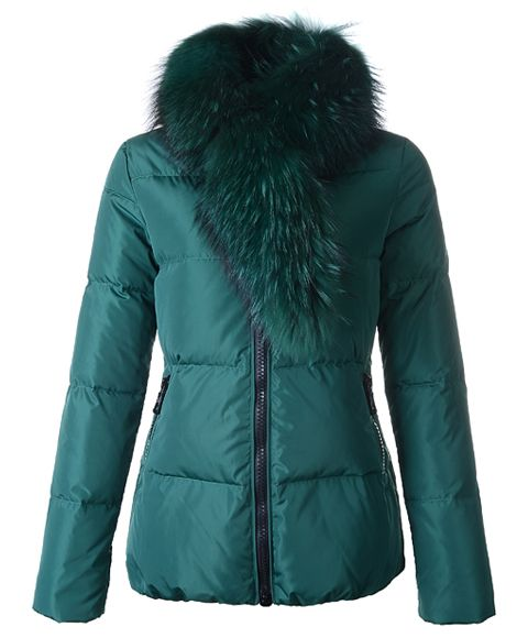 Cheap Moncler Lievre Classic Women Down Jackets Green Short