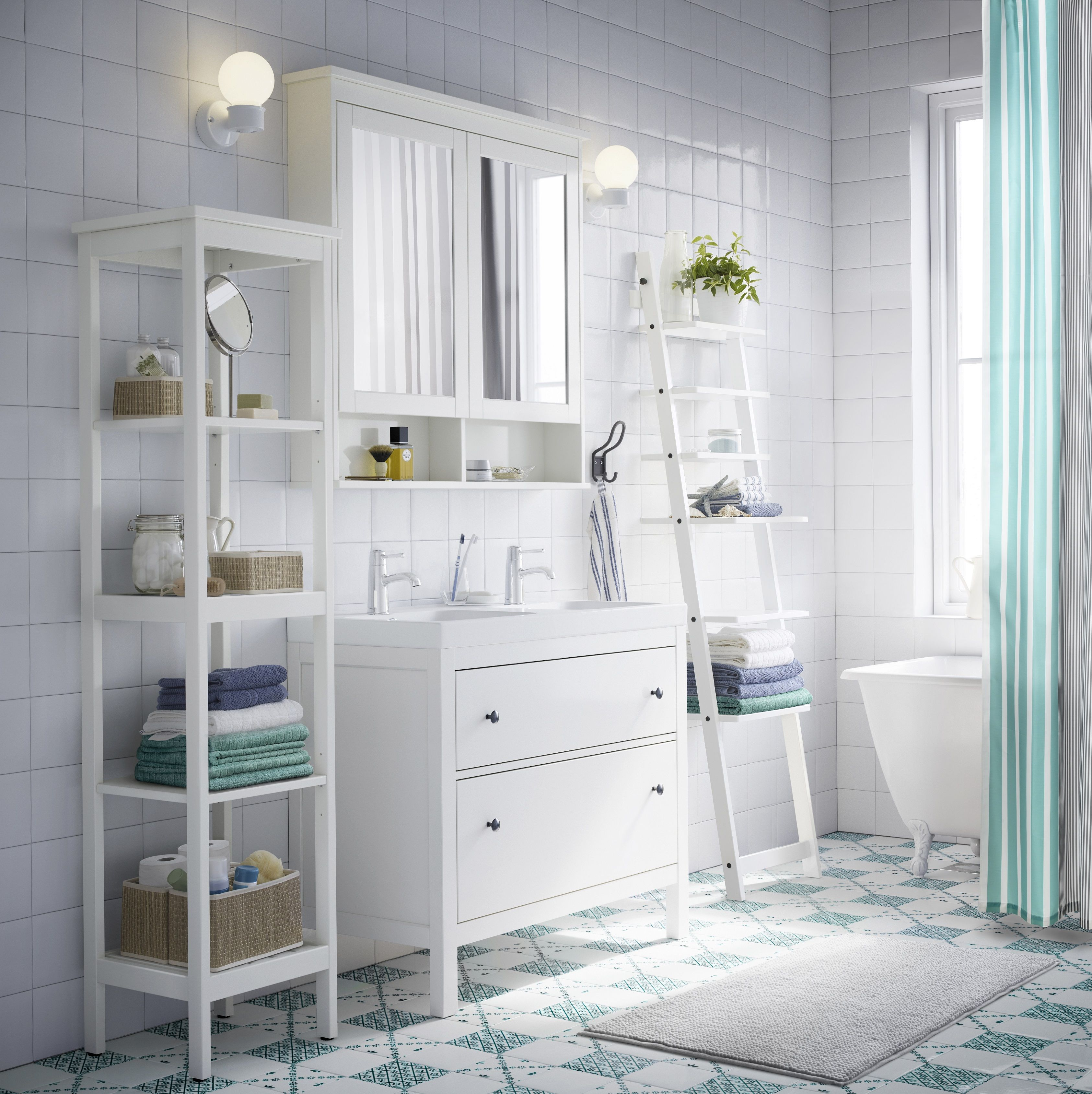 HEMNES / ODENSVIK Kast voor wastafel met 2 lades, wit | Bäder ideen ...