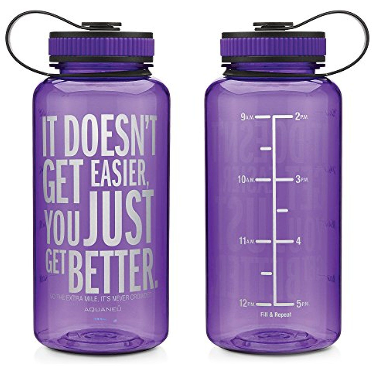 bb317994ad 34oz Inspirational Fitness Workout Sports Water Bottle with Time Marker |  Measurements | Goal Marked Times For Measuring Your H2O Intake, BPA Free  Non-toxic ...