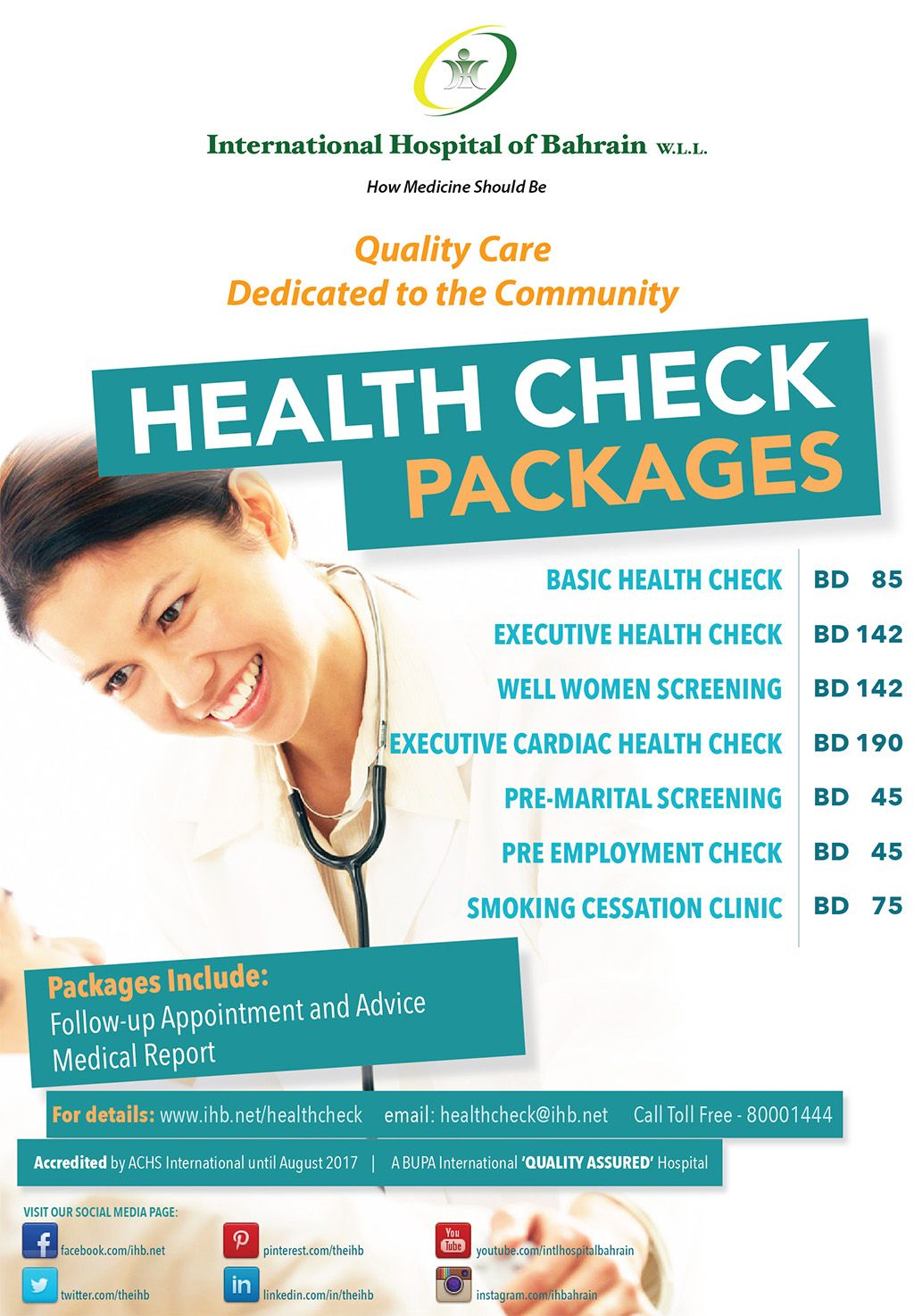 Wellness Clinic At International Hospital Of Bahrain Offers Health Check Packages To Suit Your Specific Needs Health Check Wellness Clinic Health Promotion