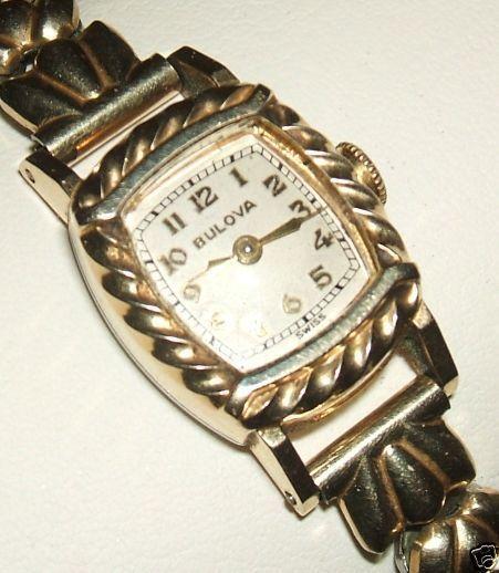 Exquisite BULOVA 10K Gold Filled 40erJ. Armbanduhr 10K J.B.Champion Armband