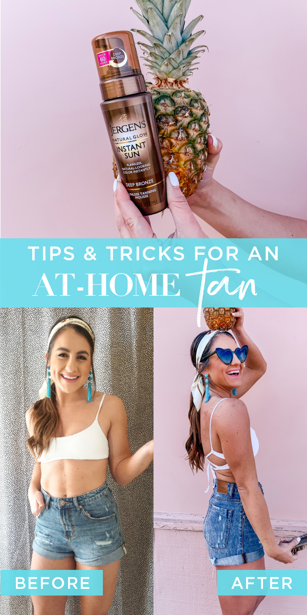 At Home Tanning Routine Topknots And Pearls Jergens Natural Glow Tanning Routine Tanning Mousse