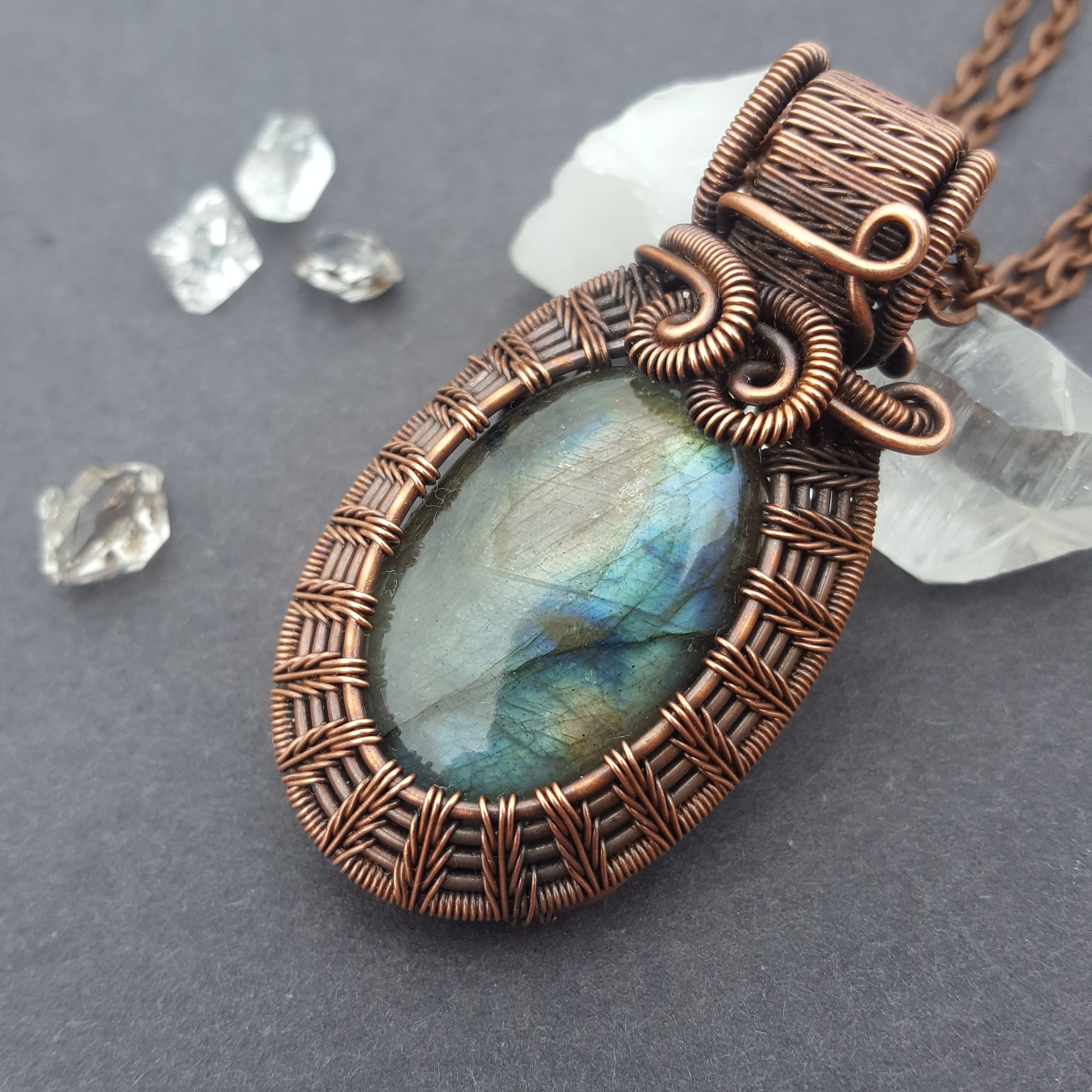 Wire wrapped labradorite cabochon in oxidized copper. Handmade with ...